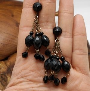 Vintage black acrylic bead tassel gypsy screwback